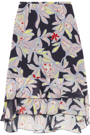 See by Chloé Ruffled floral-print silk-crepe skirt