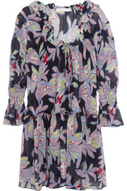 Ruffled floral-print silk-crepe dress