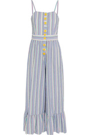Striped cotton-seersucker jumpsuit