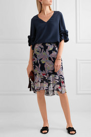 See by Chloé Ruffle-trimmed silk crepe de chine top