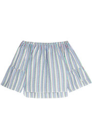 Off-the-shoulder crinkled striped cotton-blend top