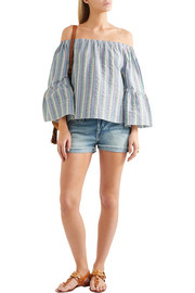 See by Chloé Off-the-shoulder crinkled striped cotton-blend top