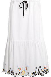 See by Chloé Scalloped embroidered cotton-poplin midi skirt
