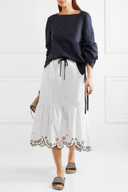Scalloped embroidered cotton-poplin midi skirt