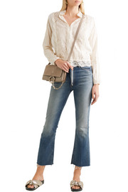 See by Chloé Pintucked voile, lace and cotton blouse