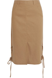 Lace-up linen-blend midi skirt