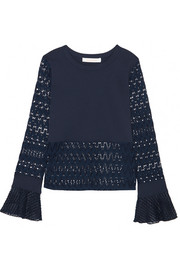 Embroidered tulle-trimmed stretch-jersey and open-knit top