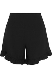 Ruffle-trimmed crepe shorts