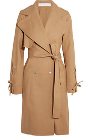 Linen and cotton-blend trench coat