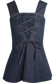See by Chloé Lace-up denim peplum top