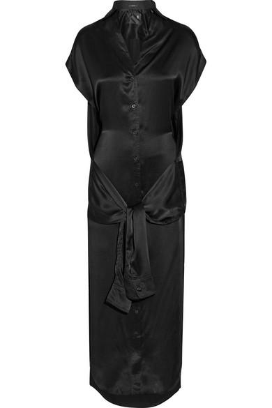 R13 - Tie-front Silk-satin Midi Dress - Black