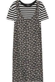 Tank Overlay printed silk and cotton midi dress