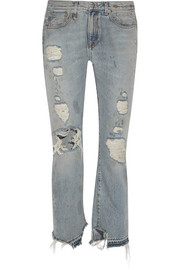 Bowie distressed high-rise straight-leg jeans