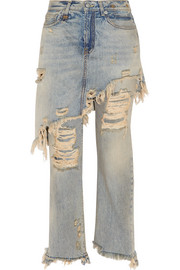 Double Classic distressed high-rise straight-leg jeans