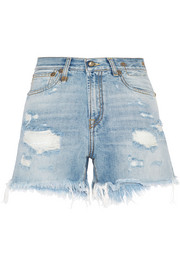 R13 Distressed cut-off denim shorts