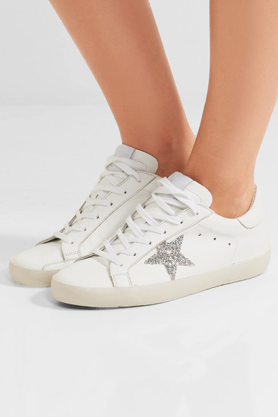 37155aeb3452 Golden Goose. Super Star Swarovski crystal-embellished leather sneakers