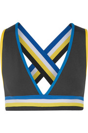The Mountain striped stretch-jersey sports bra