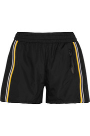 On The Attack striped mesh-paneled shell shorts