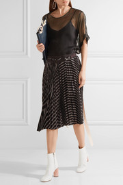 Pleated striped twill wrap skirt
