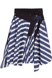 Cole asymmetric pleated striped cotton skirt