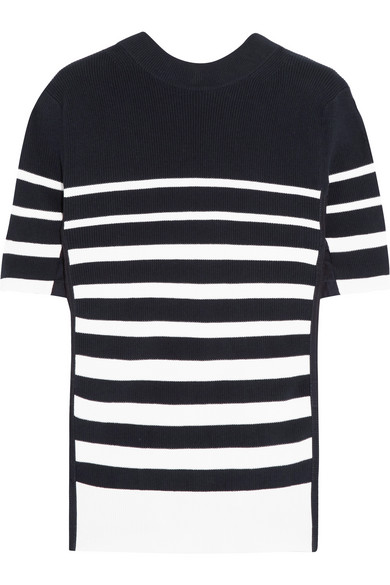 Sacai - Lace-up Twill-trimmed Striped Cotton Top - Navy