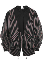 Open-back cotton piqué-paneled striped twill and silk-organza shirt