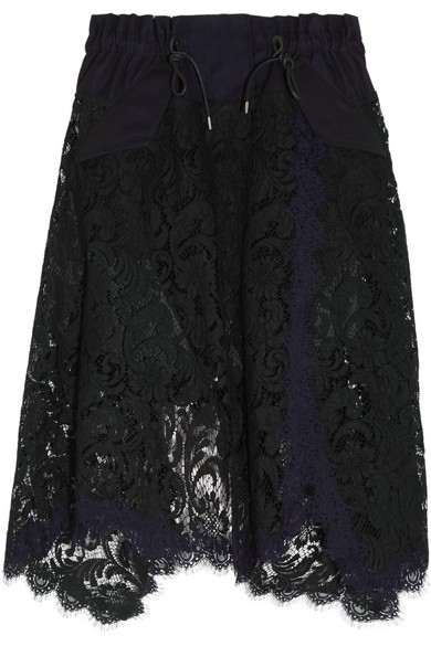 Sacai - Asymmetric Cotton Twill-trimmed Lace Skirt - Black