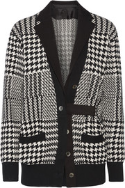 Twill-trimmed Glen plaid wool-blend cardigan