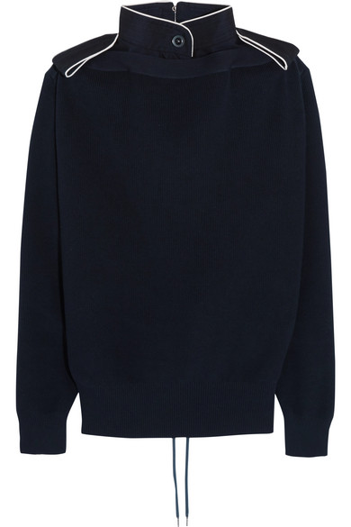 Sacai - Lace-up Twill-trimmed Cotton Sweater - Navy