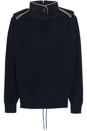 Lace-up twill-trimmed cotton sweater
