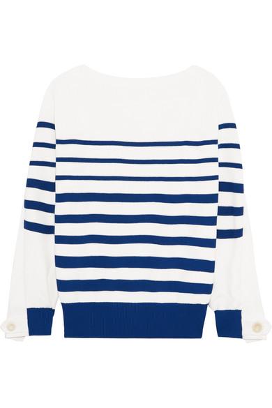 Sacai - Lace-up Twill-paneled Striped Cotton Sweater - White
