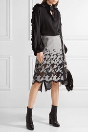 Asymmetric broderie anglaise cotton-blend skirt