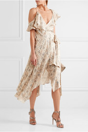 Zimmermann Ruffled floral-print silk-satin wrap dress