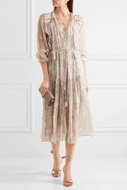 Zimmermann Garland appliquéd printed crinkled silk-chiffon dress