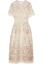Zimmermann Lace-trimmed embroidered silk-organza midi dress