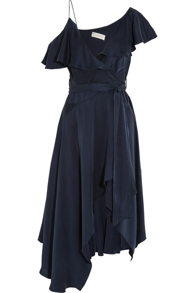Zimmermann - One-shoulder Ruffled Silk Wrap Midi Dress - Navy
