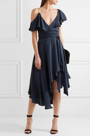 Zimmermann One-shoulder ruffled silk wrap midi dress