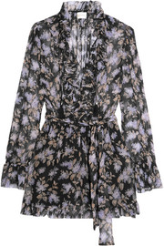 Zimmermann Ruffled floral-print silk-georgette playsuit