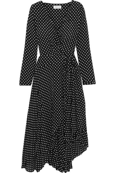 Zimmermann - Asymmetric Polka-dot Crepe Wrap Midi Dress - Black