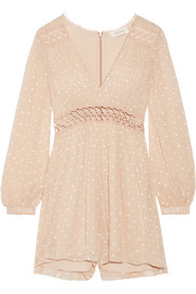 Zimmermann Bowerbird Empire embroidered crinkled silk-georgette playsuit