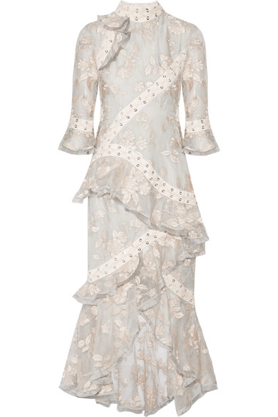 Zimmermann - Eyelet-trimmed Ruffled Embroidered Silk-organza Midi Dress - Ecru