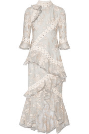 Zimmermann Eyelet-trimmed ruffled embroidered silk-organza midi dress