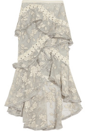 Zimmermann Lace-up embroidered silk-organza skirt