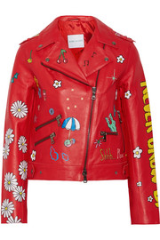 Never Grow Up painted leather biker jacket