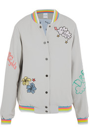 Lost Boy embroidered crepe bomber jacket