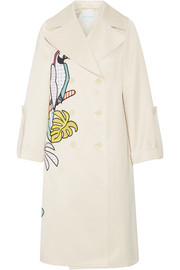 Appliquéd cotton-blend sateen trench coat