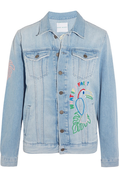 Mira Mikati - Candy Embroidered Embellished Denim Jacket - Light denim