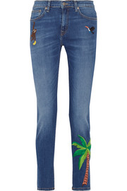 Embroidered high-rise skinny jeans