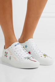Embroidered leather sneakers