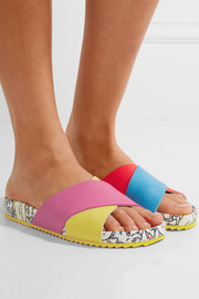 Rainbow Monster printed textured-leather slides